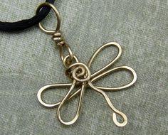 Dragonfly Brass Wire Necklace by nicholasandfelice on Etsy, | http://newjewelrytrends.blogspot.com