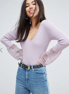 ASOS Jumper With V Neck And Lace Bell Sleeve