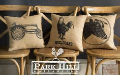 Our Vintage Tractor, Rooster Welcome, and Creamery Cow are just three of our many pillows printed with rustic images on feed sack fabric.