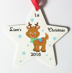 Personalised Christmas tree decorations, personalised 1st christmas tree decoration, Unique Christmas gift, Special Christmas keepsake by cjcprint on Etsy