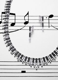 combining black with white diamonds. First some pieces from their Jazz collection, starting with jewelry. The necklace in the form of a piano keyboard, with matching earrings, is done with black spinel and white diamonds, set in white gold