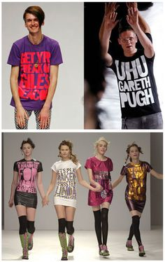 September 2006 - House of Holland revealed for the first time when Giles Deacon and Gareth Pugh take their London catwalk bows wearing each others respective 'Fashion Groupies' tees. Bottom: February 2006 - House of Holland show for the first time at London Fashion Week supported by Fashion East presenting 'One Trick Pony' collection featuring model slogans.
