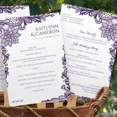 lace wedding program fan - eggplant