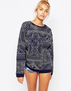 Image 1 of Element Boyfriend Sweatshirt In All Over Bandana Print co-ord