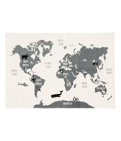 Maailmankartta-matto - Valkoinen/Eläimet - Home All H&m Deco, World Map Rug, Cork Table, Playroom Rug, H & M Home, Rectangular Rugs, White Rug, Creative Kids, Gray