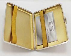 Silver Cigarette Case Engine Turned Gilt Interior 1940