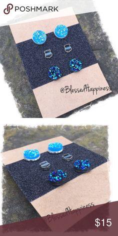Back the Blue - 3 pair Earring Set 🚔Chunky Light Blue Druzy 12mm Studs.                                                   👮🏻♀️Small 6mm Thin Blue Line Studs.                                           🚔Chunky Raw (no setting) Deep Blue Druzy Studs Jewelry Earrings