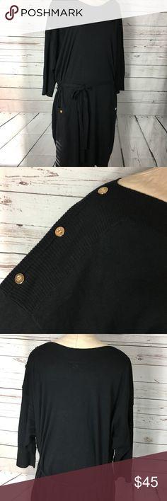 Lane Bryant Sweater Dress Black with gold button detail. Waist tie. Knit. EUC Size is 26/28. Lane Bryant Dresses Midi