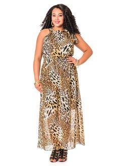 2dc7d98a23 Animal Print Tie Neck Maxi Dress - Ashley Stewart