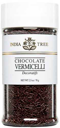 INDIA TREE CHOCOLATE VERMICELLI (SMALL JAR) INDIA TREE's Chocolate Vermicelli may be used to decorate candy, cakes, cookies and ice cream. It is also great with coffee. Sprinkle it over a cappuccino, a latte or an espresso topped with whipped cream. Or serve it in a glass bowl on a coffee condiment tray.