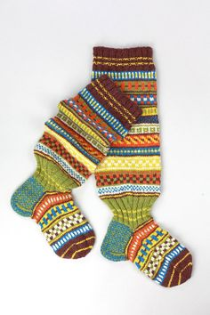 Wool hand knit knee high colorful socks in Scandinavian by RGideas