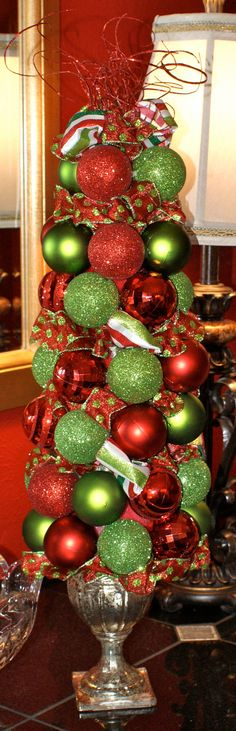 Christmas Ornaments & Ribbon Topiary