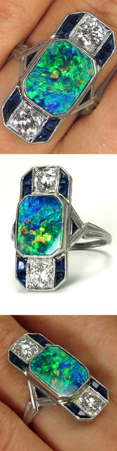 4.00CT Huge Art Deco Black Australian Opal, Sapphire and Diamond Ring in Platinum,