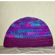 Skull Cap Shades Of Purple Blue Crochet Winter Women's Hat Crochet... ($13) ❤ liked on Polyvore featuring accessories, hats, blue hat, purple hat, crochet skull cap, cap hats and crochet cap