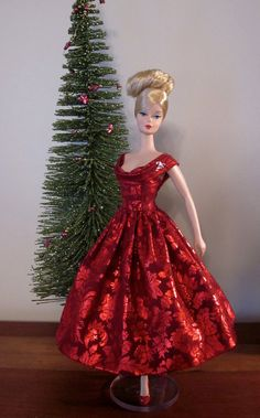 Hollyberry Rockabilly Dress by Bellissimacouture on Etsy Holiday Dresses, Holiday Outfits, Holiday Clothes, Christmas Barbie, Barbie Dress, Doll Dresses, Vintage Barbie Clothes, Doll Clothes Patterns, Clothing Patterns