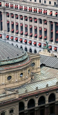 Architectural details of Theatro Municipal opera house with Edifício Alexandre Mackenzie, former headquarters of the Canadian company São Paulo Light & Power who brought electricity to the city at the background. Nowadays this building has been converted into a shopping mall. São Paulo, Brazil