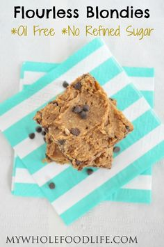 Next time you get a sweet craving try these blondies.  They taste sinful, but without any oil, flour or refined sugars.  Easy no mixer recipe!  #vegan #glutenfree #desserts #healthyrecipe