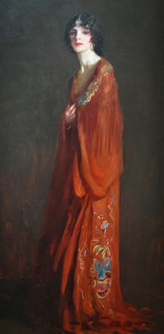 """The Red Shawl,"" Robert Henri, 1909, oil on canvas, 77 x 37"", Baltimore Museum of Art."