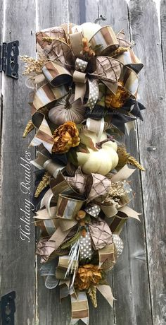 Fall Teardrop Swag by Holiday Baubles - Covid Logisn Fall Swags, Christmas Swags, Christmas Decor, Thanksgiving Wreaths, Thanksgiving Decorations, Fall Decorations, Deco Mesh Wreaths, Fall Wreaths, Door Wreaths