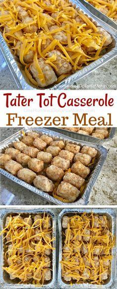 Tater Tot Casserole Freezer Meal Tater Tot Casserole Freezer M. - Tater Tot Casserole Freezer Meal Tater Tot Casserole Freezer Meal – One Hundred - Freeze Ahead Meals, Freezable Meals, Freezer Friendly Meals, Make Ahead Freezer Meals, Freezer Cooking, Healthy Meals, Easy Meals, Healthy Recipes, Freezer Recipes