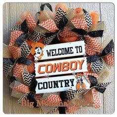 Oklahoma State Cowboys Wreath by BigMommasDoor on Etsy, $79.00