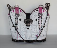 This double pink and white StageCoach Bag is named Brooke.  What a great bag to carry for summer fun.  www.stagecoachbagsandcollectibles.com Leather Working, Summer Fun, Cowboy Boots, Bucket Bag, Purses And Bags, Sew, Pink, Accessories, Fashion
