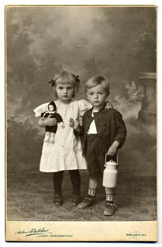 :::::::::: Antique Photograph ::::::::::  Adorable siblings, she has her sweet…