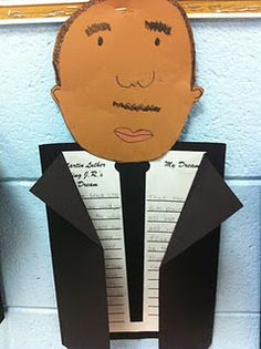 Dr. King Writing. Great idea for famous people in history!