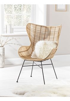 Flat Rattan Wing Chair - Furniture