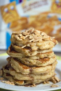 Crush up Cinnamon Toast Crunch and mix it into the batter, and then top your stack with a huge handful. It goes perfectly with syrup. Get the recipe from We Are Not Martha.   - Delish.com