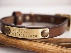Personalized Leather Dog Collar! A Personalized leather collar for small dogs and cats.