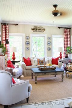Savvy Southern Style: Home Tour Like this. Savvy Southern Style: Home Tour Like this. Savvy Southern Style: Home Tour Like this. Living Room Red, Living Room Decor, Living Spaces, Red Curtains Living Room, Living Area, Casas Magnolia, French Country Living Room, Southern Living, Savvy Southern Style