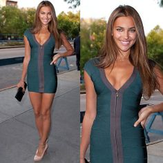 Irina Shayk in Herve Leger V Neck Bodycon Bandage Dress Hot Sale Just $179 http://www.legerstraplessdresses.com/irina-shayk-herve-leger-neck-bodycon-bandage-dress-hot-sale-p-105.html