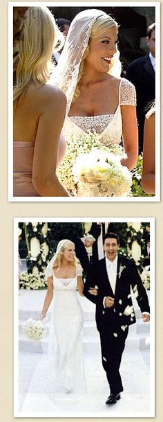 Surprisingly enough, my favorite celebrity wedding dress is this 2004 Badgley Mischka on Tori Spelling. The veil is equally fantastic.