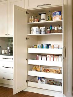 Check out these fabulous inspiration photos and ideas for slide out kitchen pantry drawers!
