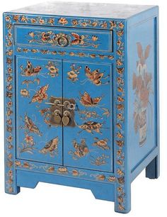 Abbyson Living Antique Asian Butterfly Teal Side Table