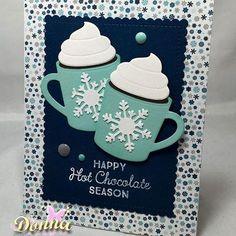 "card winter mugs MFT hot cocoa cups - Echo Park ""Hello Winter"" paper pad MFT - christmas cup card - snowflake Christmas Cup, Homemade Christmas Cards, Homemade Cards, Winter Christmas, Stampin Up Christmas, Homemade Breads, Xmas Cards, Holiday Cards, Nail Art Noel"