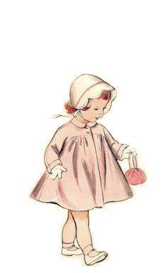 Vintage 50s Toddler Girls Raglan Sleeve Coat with Shaped Yoke and Puff Sleeve Dress Sewing Pattern Size One Half