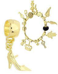 Berloque folheado a ouro em forma de sapato de salto (Pandora inspired)-Clique para maiores detalhes