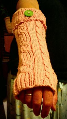 Fingerless gloves from an old sweater - like the button on cuff, maybe a mother-of-pearl one instead?