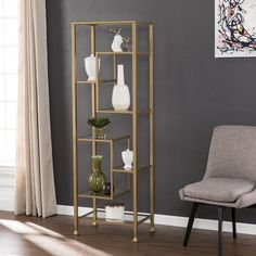 New Style Blue Hill Etagere Bookcase By Ivy Bronx Gold Bookshelf, Cube Bookcase, Etagere Bookcase, Spring Home Decor, Unique Home Decor, Ikea Furniture, Living Room Furniture, Gold Etagere, Unique Shelves