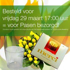 Paascadeau bestaande uit schitterend tulpenboeket, bijpassende glazen vaas én heerlijke Merci bonbons! Van € 43,96 voor € 24,95!