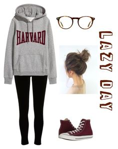 """""""Lazy day"""" by falloutbianna ❤ liked on Polyvore featuring Ray-Ban, River Island and Converse"""