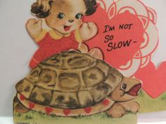 """#14 Vintage Valentine Card 1940's Turtle """" I'm Not so Slow """" Fold Out Unused"""