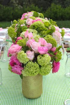 Beautiful floral centerpieces at a fairy birthday party! | CatchMyParty.com