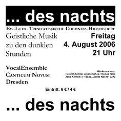2006-08-04  Konzert des  VocalEnsemble CANTICUM NOVUM Dresden  www.cn-dresden.de
