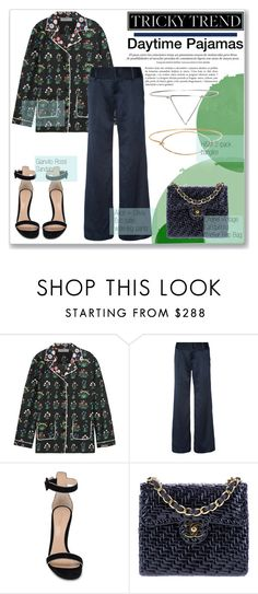 """""""Tricky trend:Daytime Pajamas"""" by city-love-fashion ❤ liked on Polyvore featuring Valentino, Alice + Olivia, Gianvito Rossi, Chanel and TrickyTrend"""