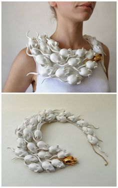 "halloweencrafts: "" DIY Inspiration: Raluca Bazura's Porcelain Jewelry Both these ideas can be used for ""inspired"" versions: mice necklace using painted Dollar Store mice, and the wing/angel necklace using plastic spoons, craft foam, or polymer..."