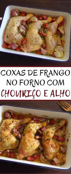This is one of those recipes that can be served at lunch or dinner. Chicken legs in the oven flavored with chouriço and garlic is a simple recipe to. Tray Bake Recipes, Duck Recipes, Real Food Recipes, Cooking Recipes, Healthy Recipes, Food C, Feel Good Food, Chicken Legs, Portuguese Recipes