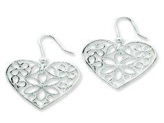Italian 925 Sterling Silver Polished Filigree Heart Dangle Earrings Online At Gemologica